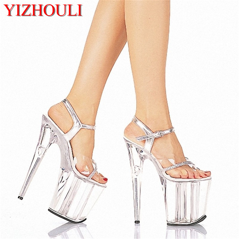 2018 Sexy 20cm Temptation Crystal Sandals Ultra High Thin Heels Platform 8 Inch Clear Shoes Sexy Stripper Shoes 20cm sexy ultra high heeled platform shoes performance shoes platform black pu leather single shoes 8 inch fashion crystal shoes