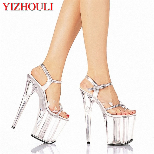 196cb1b2fd52 2018 Sexy 20cm Temptation Crystal Sandals Ultra High Thin Heels Platform 8  Inch Clear Shoes Sexy Stripper Shoes