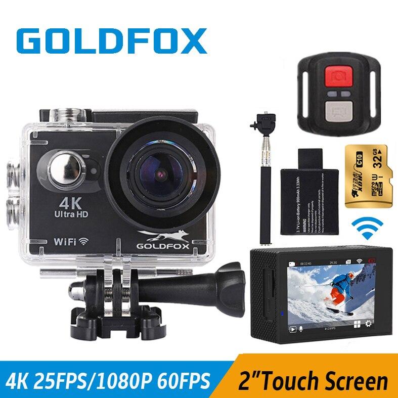 GOLDFOX S350R Allwinner V3 Wifi 4k 2'' Touch Screen 4K Action Camera 30M go extreme pro Waterproof Remote Sport Cam Mini Camera