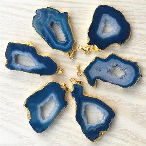 Image 3 - Pierre naturelle brésilienne plaquée, pendentifs à bords galvanisés, Agates, Geode Drusy Druzys, pour colliers, fabrication de bijoux, 5 pièces
