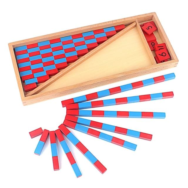 Juguete de bebé varillas numérica pequeñas matemáticas Montessori 1-25 CM varillas rojas y azules juguetes de matemáticas aprendizaje y educación juguetes clásicos de madera para niños