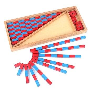 Juguete para bebés, varillas numéricas Montessori matemáticas de 1 a 25 CM, varillas rojas y azules, juguete de matemáticas, juguetes clásicos de madera para aprendizaje y educación para niños