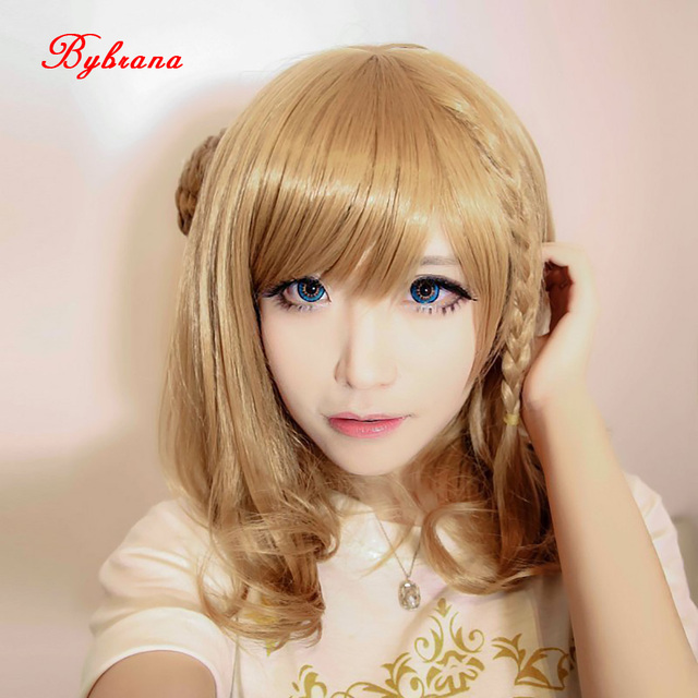 bybrana 45cm short hair pear head brown wig for women high temperature fiber cosplay wig halloween