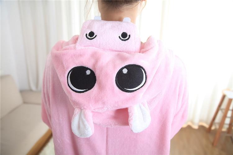 Hippo Pajamas Sleepwear Kostym Unisex Sängkläder Cosplay Onesies Animal Hoodies Vuxen Kostym för Halloween Carnival
