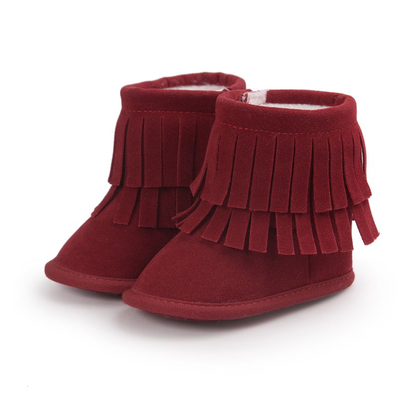 ФОТО baby girls winter boots infant moccasins with fur soft soled tassel warm shoes kids booties