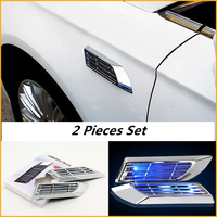 Solar Energy 1 Pair 2 Pieces Modified Simulation Light Air Vent Car Styling Exterior Accessories Decoration Wind Net Sticker