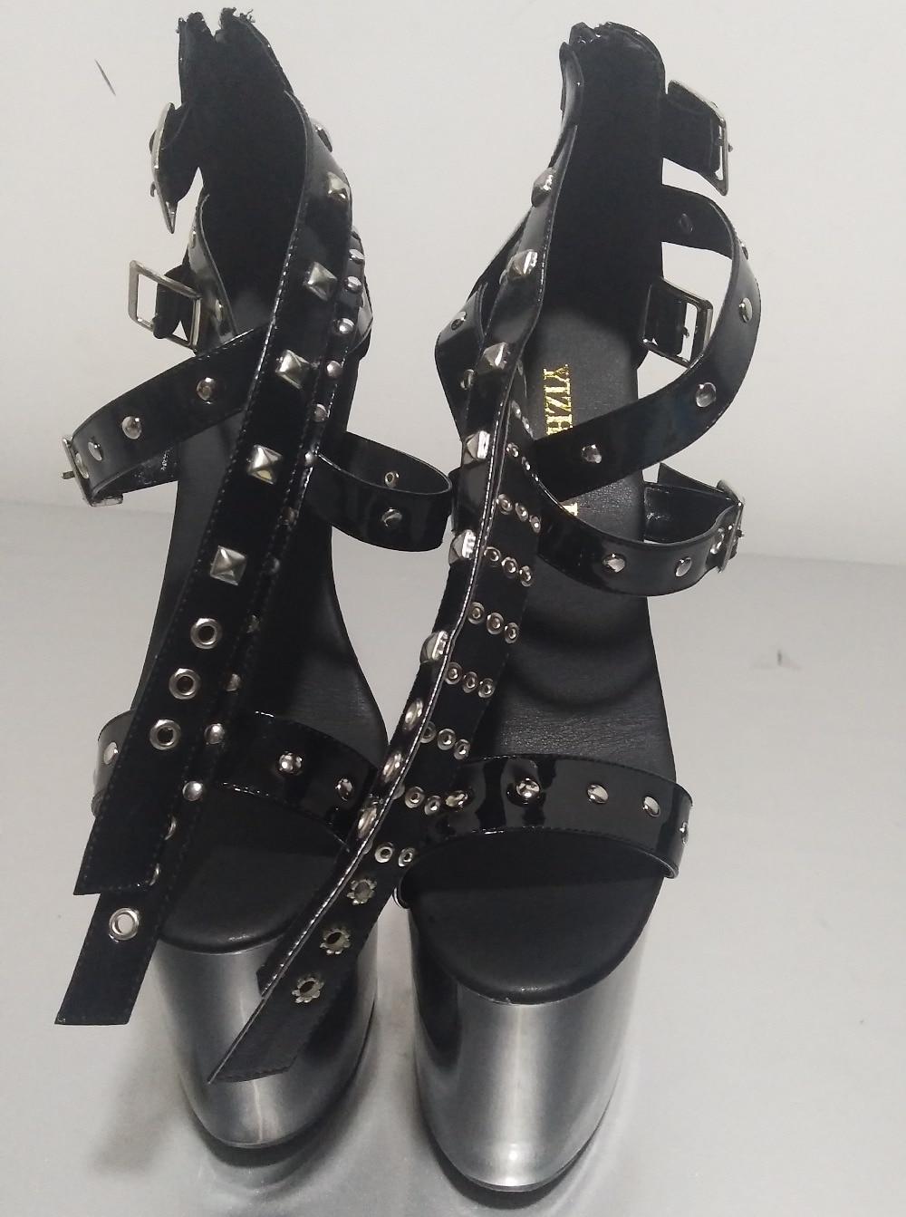 20 Gladiador Plataformas Pulgadas Tacones Remaches Moda Sandalias De Zapatos Punk Hebilla Negro 8 Cm Mujer wWP1Ytx7qz