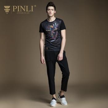 Pinli 2020 Summer New Top Sale O-neck Cotton Print Slim Elastic Casual Men Short Sleeve T-shirt Fashion Cool Boy B172111105  2