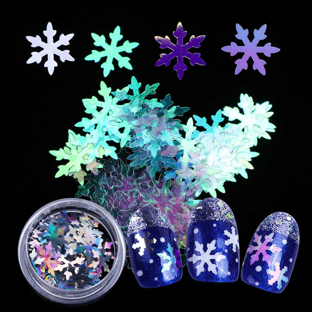 1 Kotak Kuku Glitter AB Serpihan Salju Besar Bunga Laser Gemerlap Hologram Paillette Payet Kuku Seni Dekorasi Lembar BEDX01-06