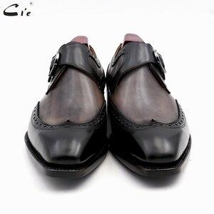 Image 3 - Chaussures en cuir de veau peint à la main, Double bretelles moine, gris et noir, boucle pleine grains, respirantes, pour hommes, cie MS03