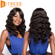 Brazilian Human Hair Wigs With Bang Side Part X-TRESS 20inch Long Loose Wave Non Remy Hair Wig For Women Natural Color Hairpiece