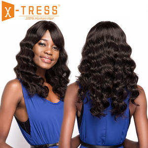 X-TRESS Human-Hair-Wigs Hairpiece Non-Remy-Hair Natural-Color Loose Women Brazilian