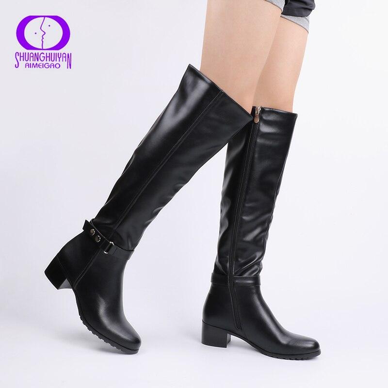 AIMEIGAO rodilla invierno botas sobre la rodilla mujeres botas de cuero suave cremallera mujeres botas de caña alta de invierno cálido zapatos