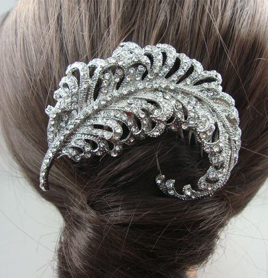 Nuptiale accessoires cheveux de mariage peigne nuptiale strass cristal  plumes de paon peigne demoiselle bijoux