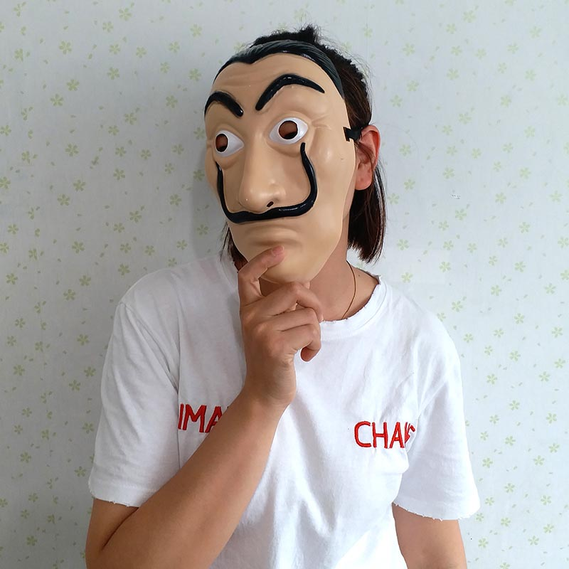 La Casa De Papel Mask Salvador Dali Plastic Face Funny Mask Costumes Cosplay Masque Mascara Dali Mask Money Heist Wholesale