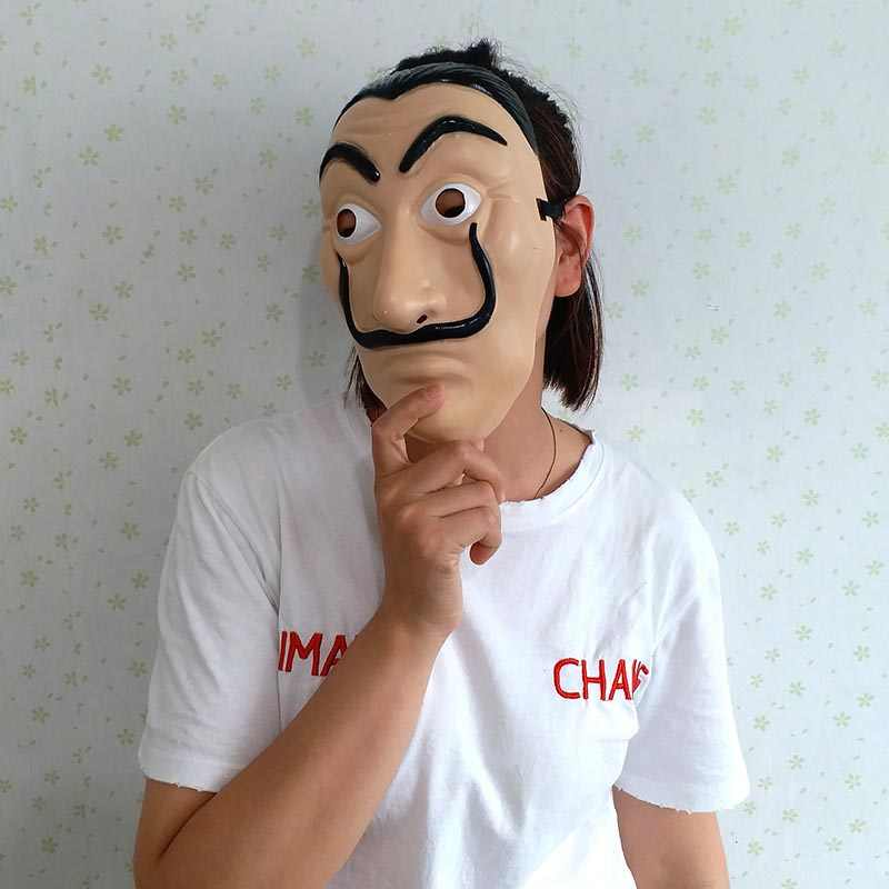 La Casa De Papel Mask Salvador Dali Plastic Face Funny Mask Costumes Cosplay Masque Mascara Dali Mask Money Heist Wholesale