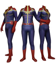 2018 new Ms. Marvel Superhero Cosplay costume Spandex Zentai Bodysuit Halloween Party suit