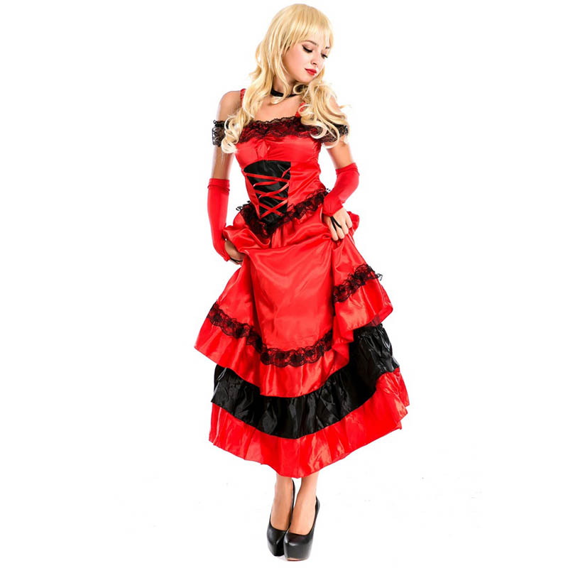 Sexy Red costume For Lady princess dress For Carnival Cosplay Long Women Dew shoulder Dress For Christmas Cosplay