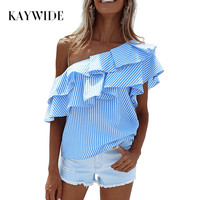KAYWIDE 2017 Spring Women Blouse Series One Shoulder Ruffles Shirt Tops Summer Striped Shirt Sleeveless Blouse