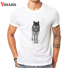 T-Shirt Men Hipster 3D Print Wolf Graphic Tees Casual T Shirts White Tee  Hip Hop Animal Summer Tops
