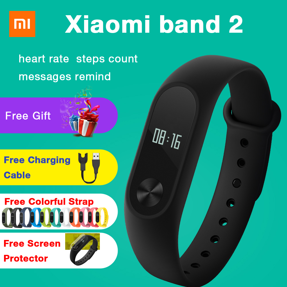 все цены на Xiaomi band 2 Mi Band 2 Smart Watch Bracelet Heart Rate Monitor Wristband Fitness Tracker Bracelet Smartband IOS Step Count онлайн