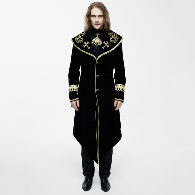 6078b80ca Devil Fashion Steampunk Black Red Men Long Coats New Autumn Winter Gothic  Embroidery Pattern Cape Coat Casual Trench Overcoats