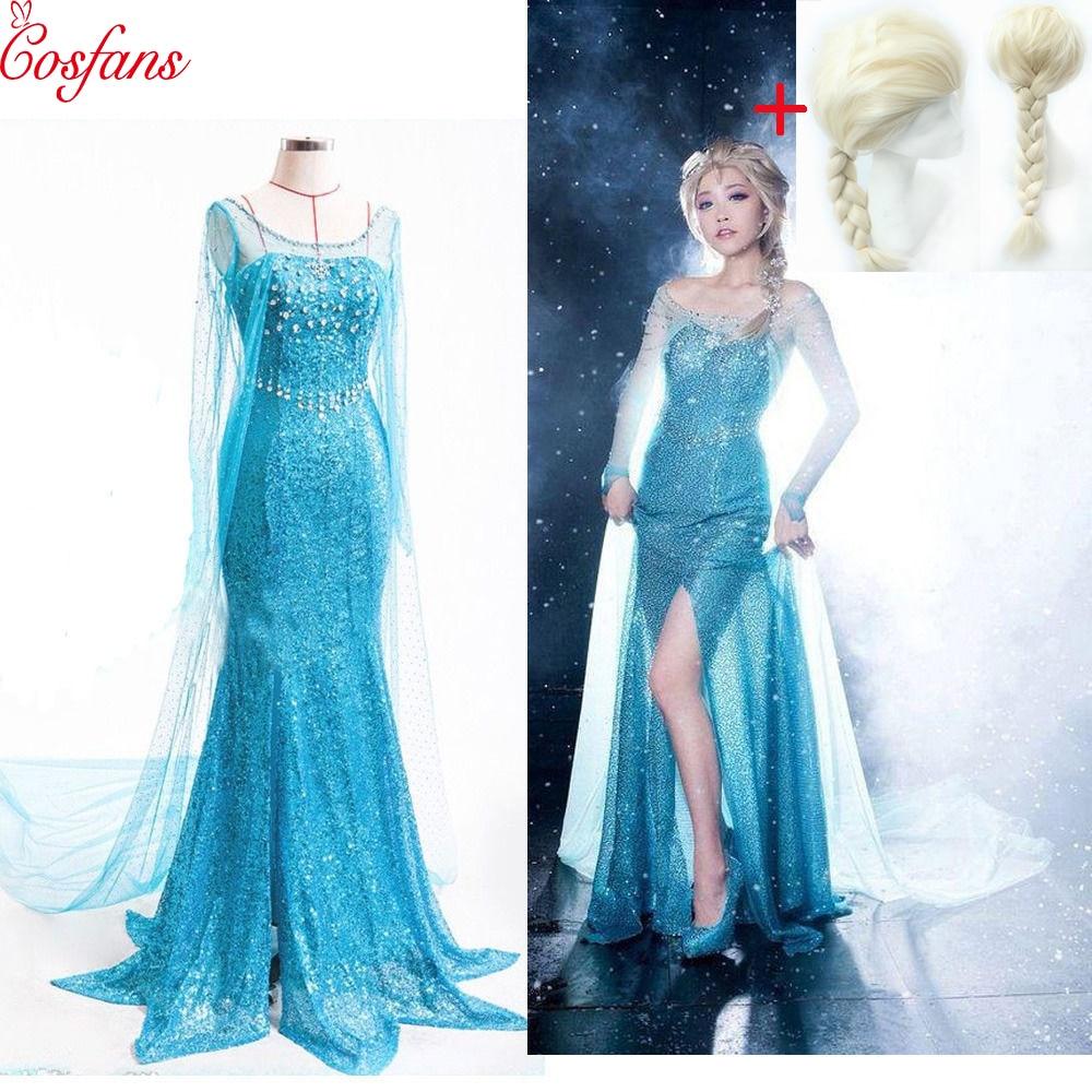 Hot Sale 2018 Christmas Party Cosplay Elsa Princess Dress And Wig