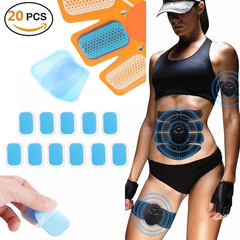 20 Pcs Hydrogel Sticker Stimulator Training Replacement Gel Sheet Pads AbS EMS Abdominal Muscle Stimulator Gel Trainer Accessory