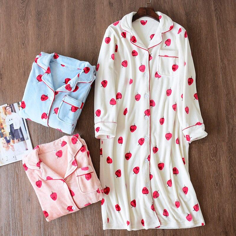 Soft Night Dress Autumn Velvet   Nightgowns   Girls Sleep Dress Long Sleeve Cute Sleepwear Women Lounge Home Clothing   Sleepshirts