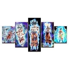 Hot Sell Canvas Art Anime 5 Pieces Dragon Ball Super Goku Wall Painting Modern Home Decor HD Print Modular Picture Artwork