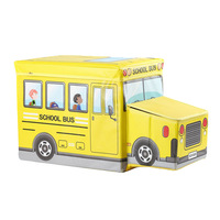 NEW Cartoon Bus Shape Toys Organizer for Folding Cartoon Car Toy Storage Basket Kid Clothes Toy Storage Box Children Storage B