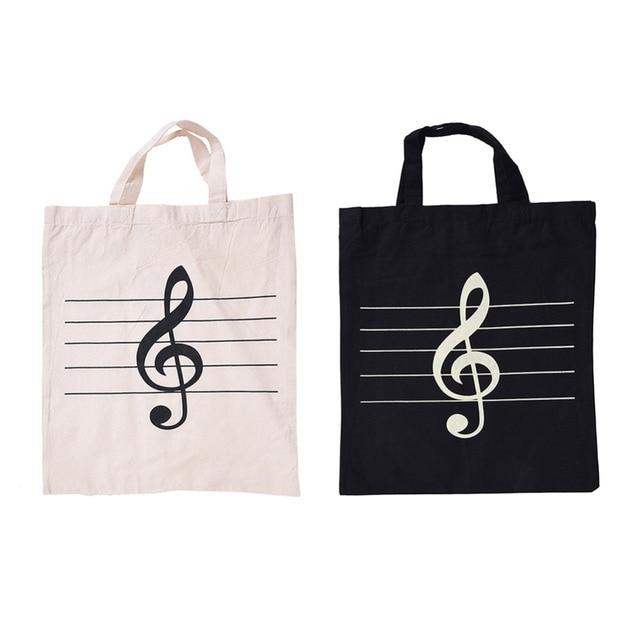 Portable Cotton Box And Linen Music Score Bag Treble Symbol Pattern