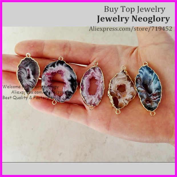 1a6fce7496eda 5pcs Mixed Colors Geode Leopard Stone Druzy Pendant Beads,Natural Geode  Druzy Quartz Slice Stone Gem Stone Connector