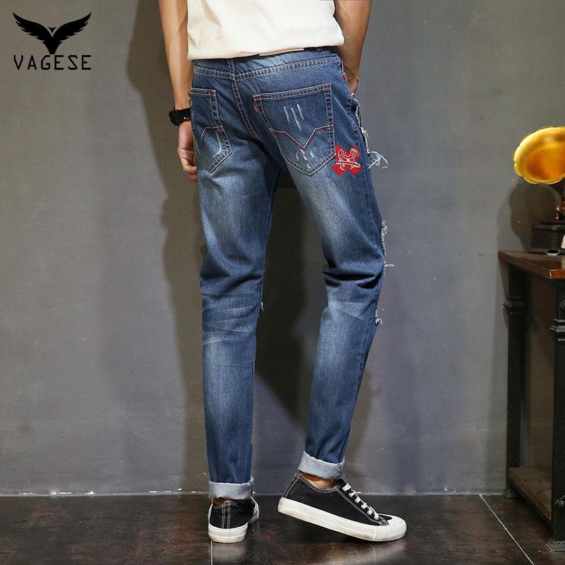 acea9f6c3d Nueva Moda VAGESE Hombres Biker Jeans Rasgados Agujero Robin Parches Harem  jeans para hombres Pantalones de Mezclilla en Pantalones vaqueros de La  ropa de ...
