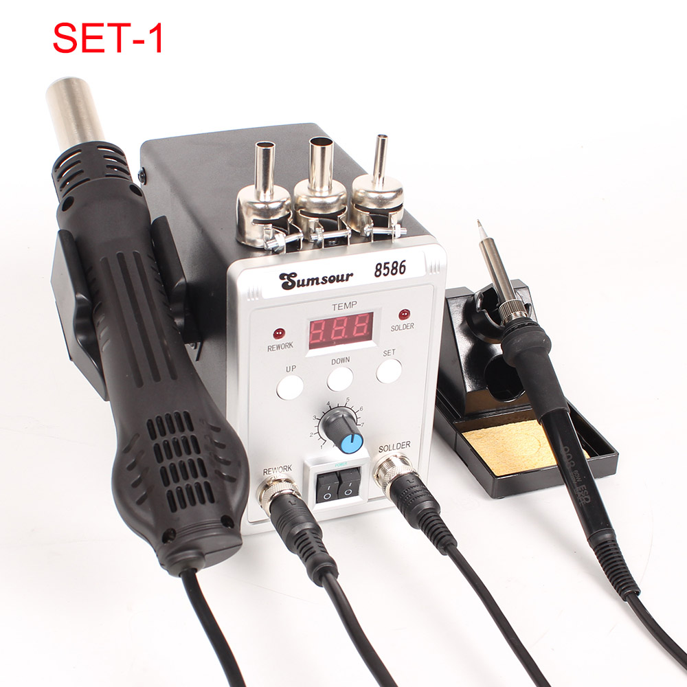 8586 2 in 1 Soldering Iron SMD Rework Station with Hot Air Gun for Phone Repair
