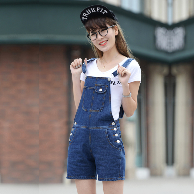 d47630496894 2017 loose denim suspenders shorts female preppy style spring female  spaghetti strap shorts Overalls jumpsuits women