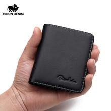 Бизон джинсовые черный кошелек для Для мужчин из натуральной кожи Для мужчин кошельки тонкий мужской кошелек держатель для карт Коускин мягкой мини-кошельки N4429