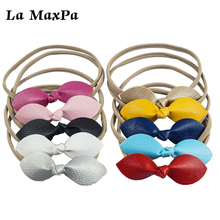 5Pieces/set Leather Bow Baby Headband For Girls Kid Elastic Nylon Hairband Baby Clothing Leaves Hair Accessories Headwraps adorable baby girl linen bow headband newborn elastic nylon headwraps pink girls hair accessories bebes bandeau photography pros