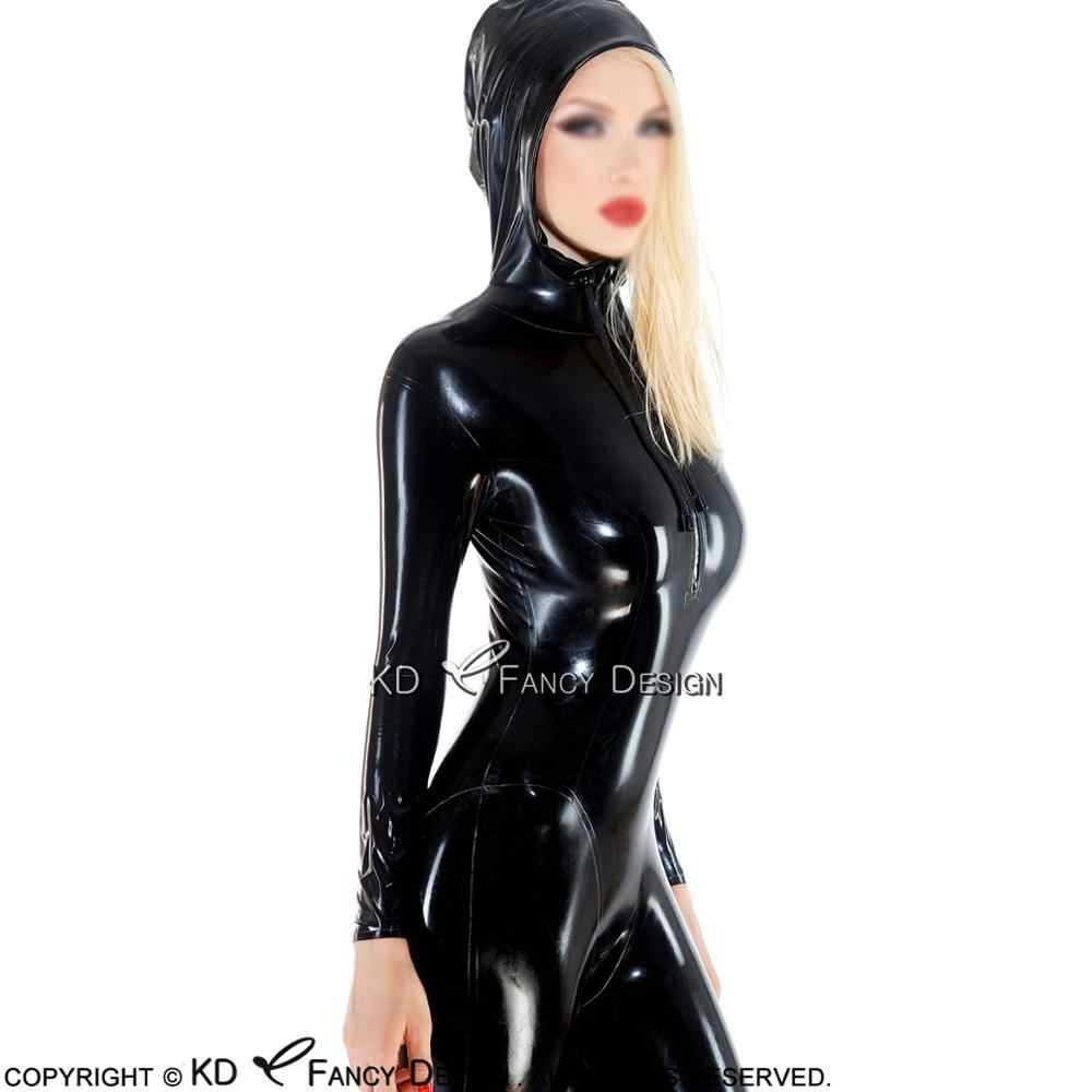6a4fd990e Black Sexy Latex Catsuit With Hoodies Front Zip Crotch Zip Rubber Body Suit  Catsuit Bodysuit Zentai