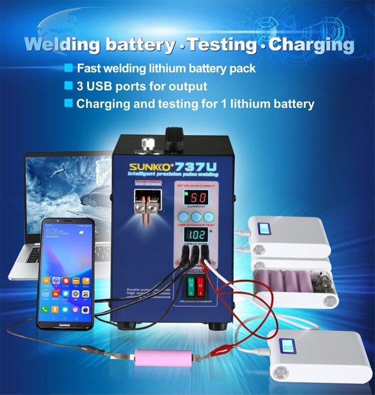 Pulse SUNKKO Battery Display Spot Double Handheld Welding 737U USB Welder For Machine Digital LED Charging Illumination 18650