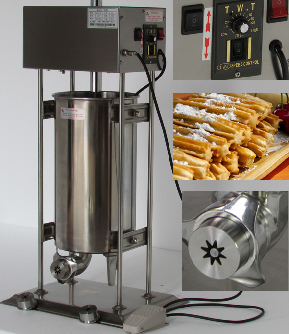 15L Capacity Commercial Use110v 220v Electric Auto Spanish Churro Maker Machine Baker commercial 5l churro maker machine including 6l fryer