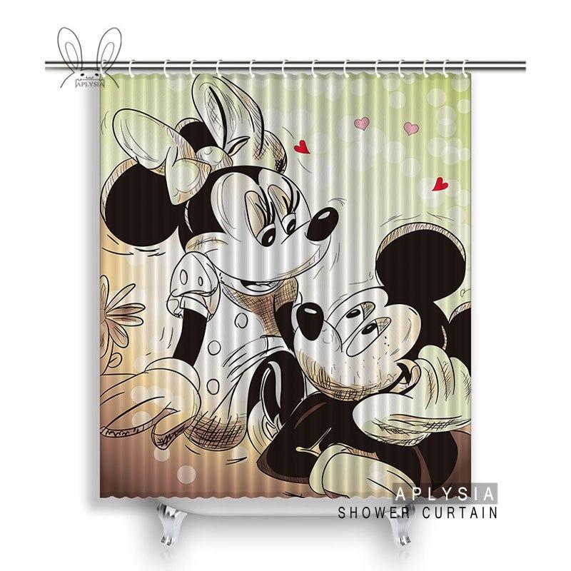 Aplysia Mickey Mouse Love Bathroom Shower Curtains Cartoon Art Eco Friendly Waterproof Fabric