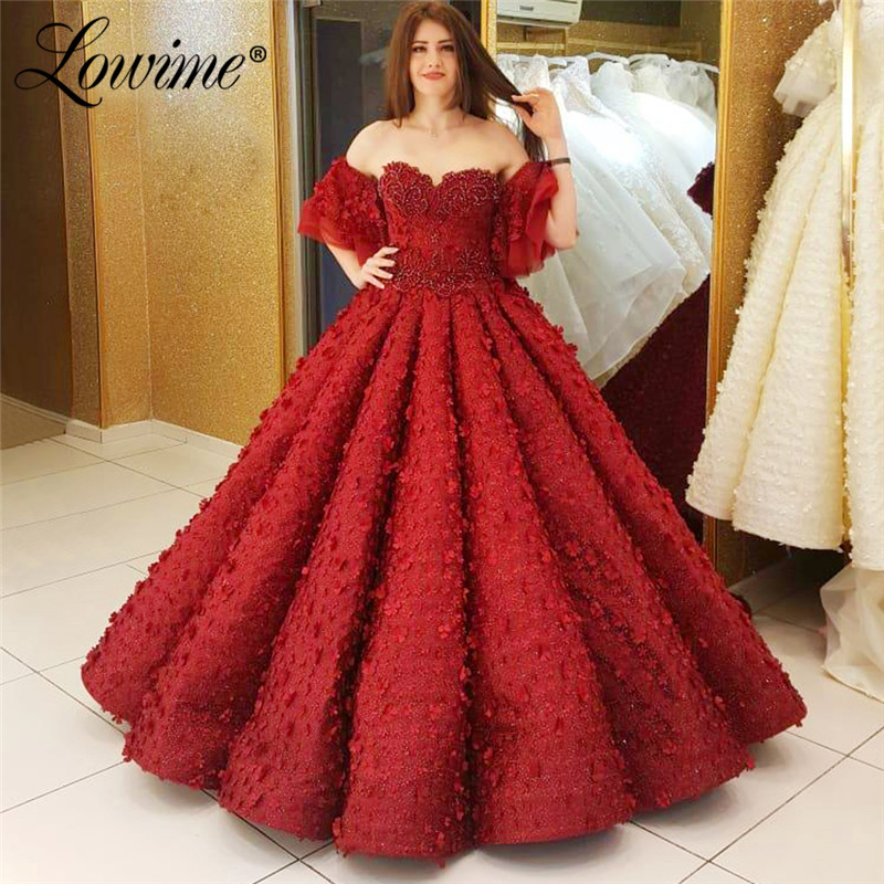 Red Puffy Prom Dresses Abendkleider Ball Gown Pink Evening Dress 2019 Couture Turkish Dubai Lebanon Party Gowns Robe De Soiree