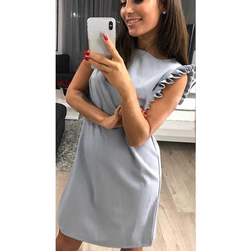 61657bbeff2e81a 2018 Летняя мода с короткими рукавами платье для женщин Повседневное с круглым  вырезом платье для отдыха
