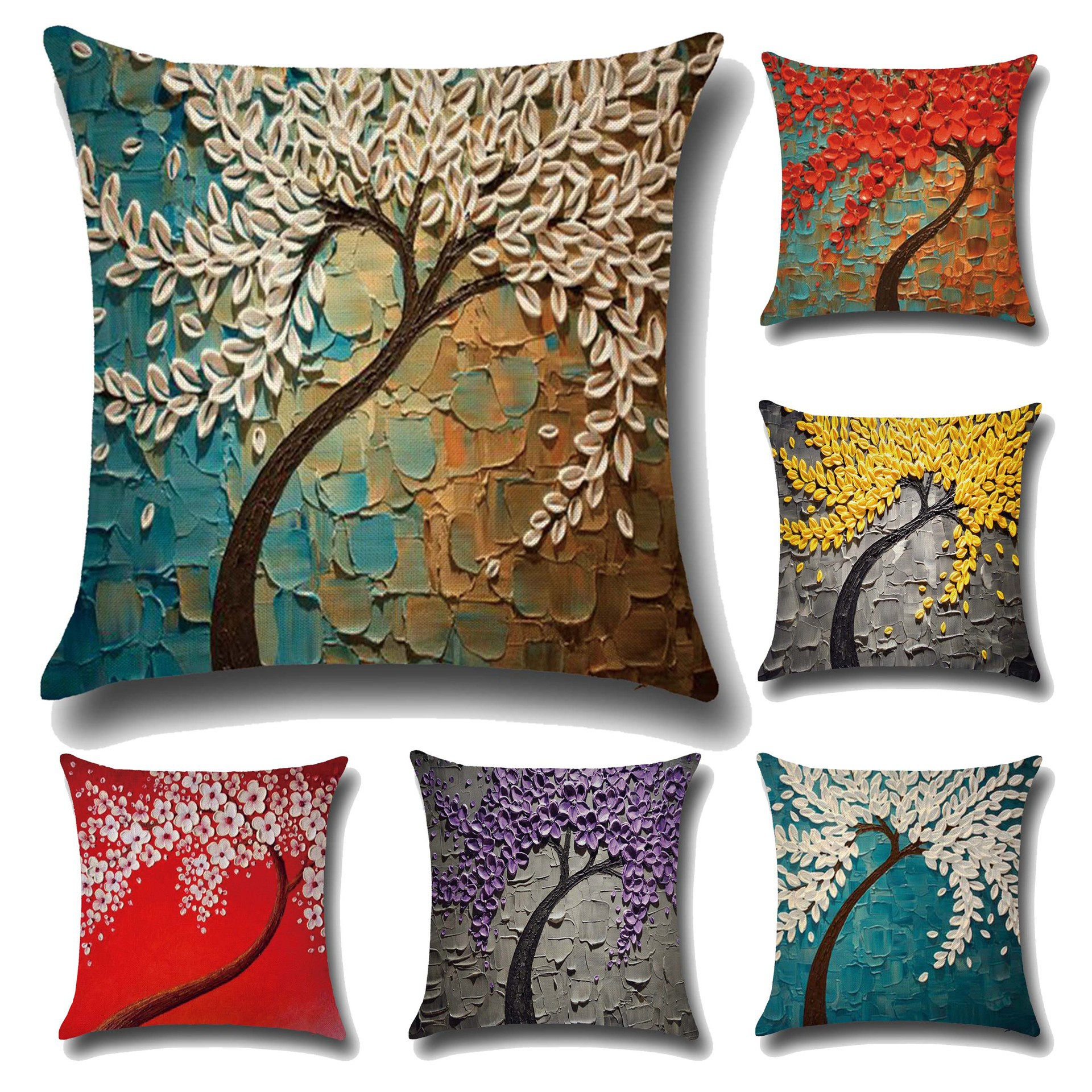 45*45cm 3D Oil Painting Printing Linen Fabric Pillowcase Pillows Case Cover Pillow Bedroom Pillowcase