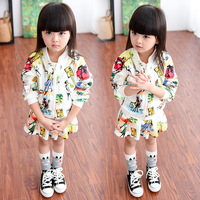 2015 New Kids Cardigan Jacket White Coat Children Tutu Skirt Cartoon Graffiti Cute Toddler Girl Clothes