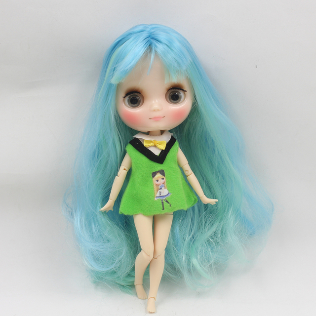 Middle 1/8 blyth doll Transparent skin glossy face joint body with bangs gray eyes Free shipping