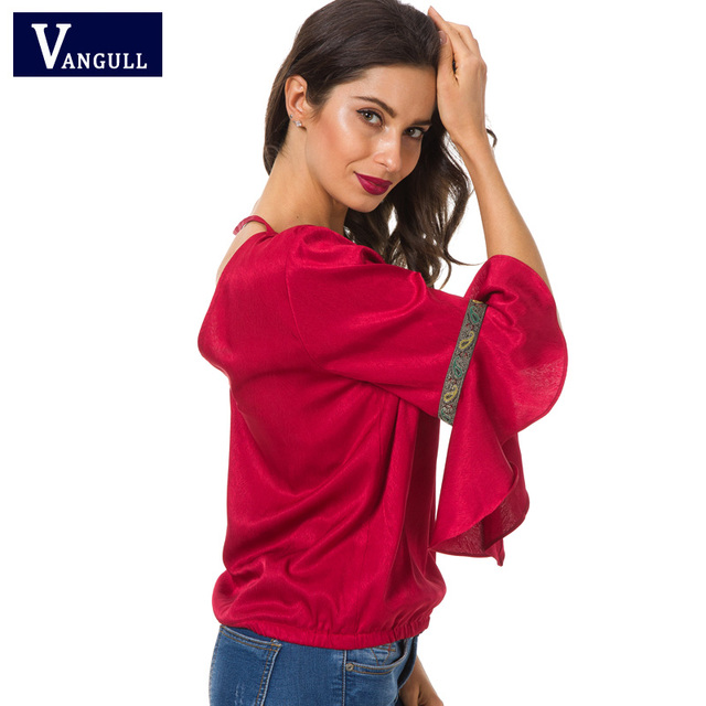 Vangull Butterfly Sleeve Blouse 2018 New Spring Summer V Neck  Embroidery Tops Women Office Ladies Casual Brand Elegant Blouse