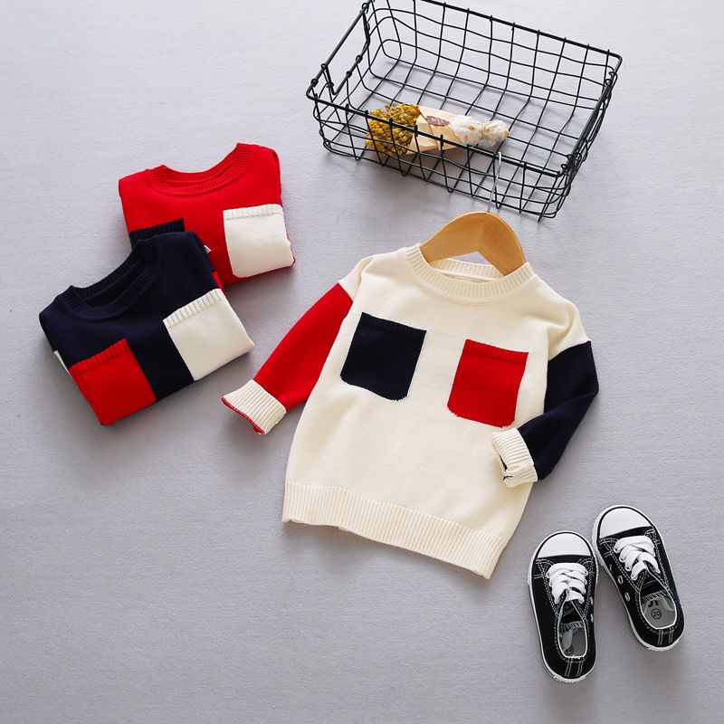 New Autumn Girls Boys Kids Baby Infants Long Sleeve Block Color Outwear Pullover Knitwear Kintting Sweater Camisola Tops MT1277