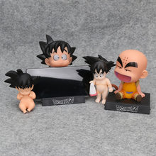 Dragon Ball Z Son Goku Criança Bebê Dormindo Goku Kuririn PVC Figure Toy Collectible Modelo 8-12cm(China)